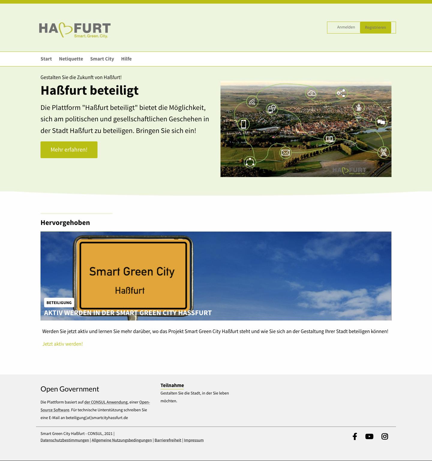 Bildschirmfoto der Hassfurt-beteiligt.de website
